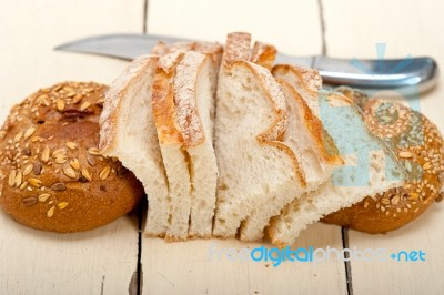 Organic bread over rustic table stock photo royalty free