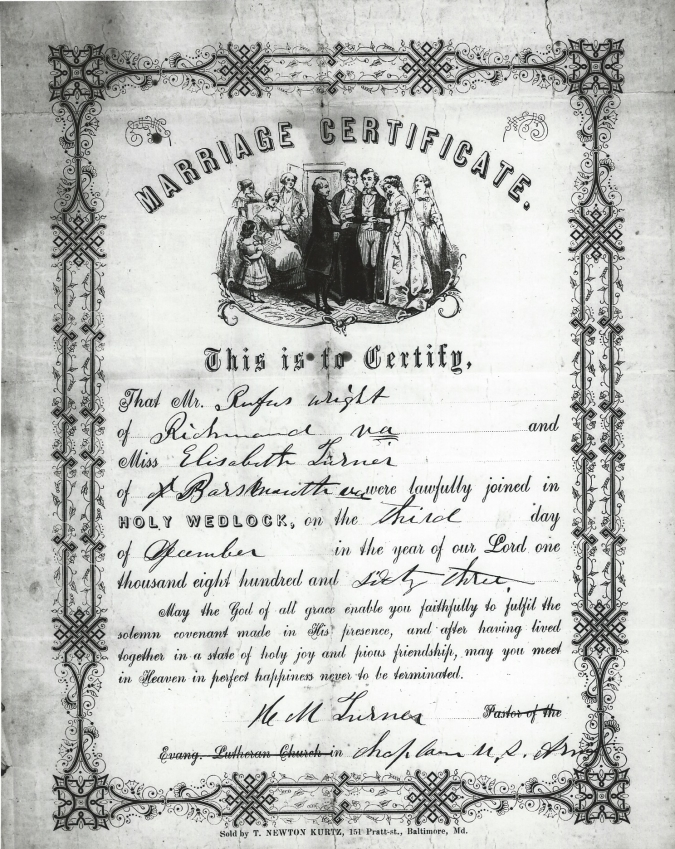 Marriage Certificate of a Virginia Black Soldier and His Wife - marriage certificate