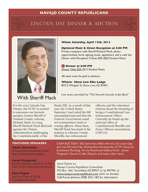 Lincoln Day Dinner and Auction with Keynote Speaker, - Freedoms Phoenix