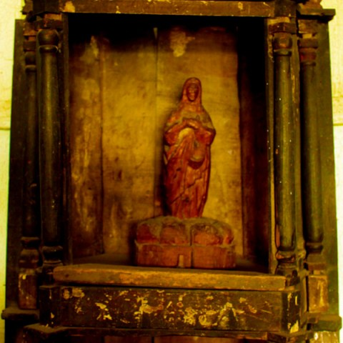 wooden statue of Virgin Mary