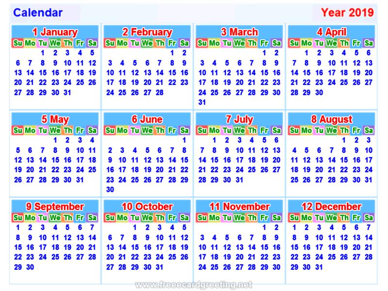 calendar 2019 free print