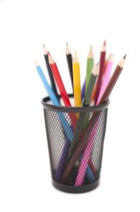 Free image of Colored pencils in black pencil holder