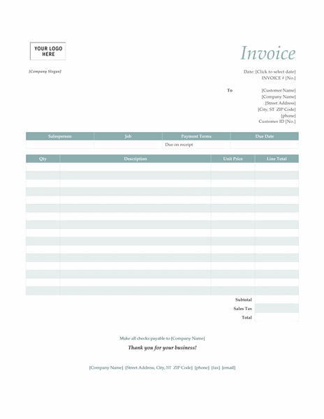 Basic Invoice Template Word – Receipt Template Word Free