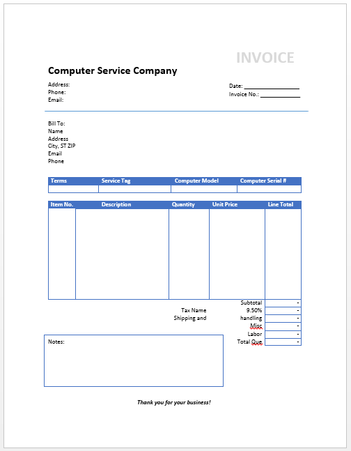 Electrical Service Invoice Samplewords Forms Documents Admin Free Invoice Templates