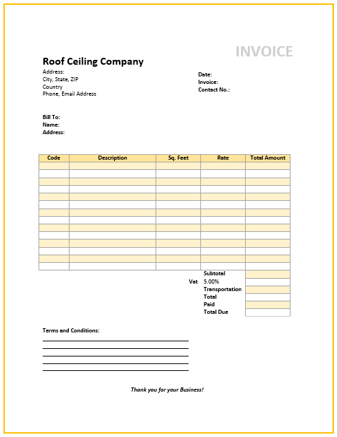 roofing invoice template free