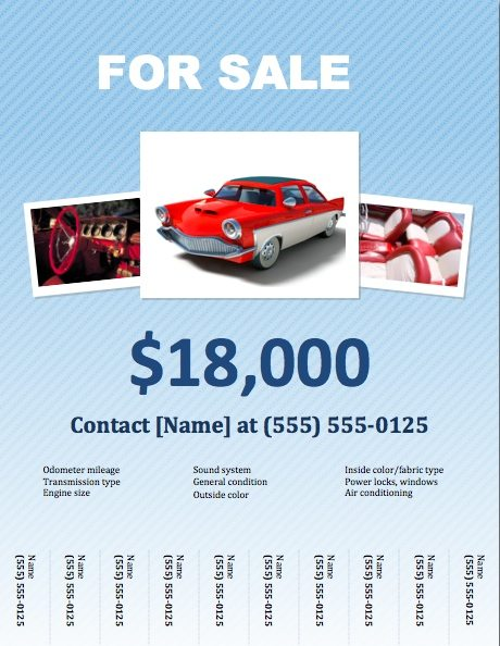 Car For Sale Flyer Template for Pages Free iWork Templates - for sale template