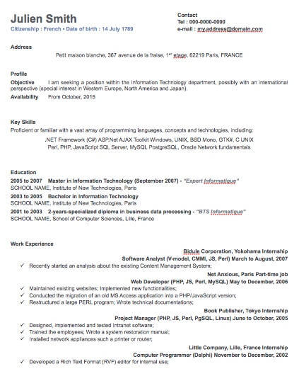 One Column Professional Resume Template Free iWork Templates - iwork resume templates
