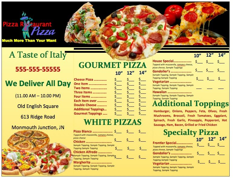 Pages Pizzeria Menu Template Free iWork Templates - Sample Pizza Menu Template