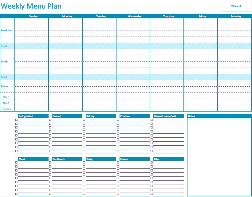 Numbers Weekly Menu Planner Template Free iWork Templates - meal planning template