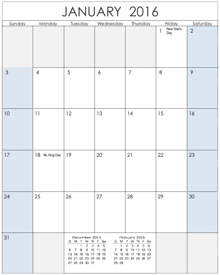 vertical calendar template