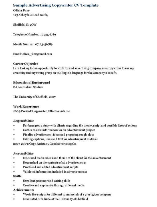 Advertising Copywriter Resume