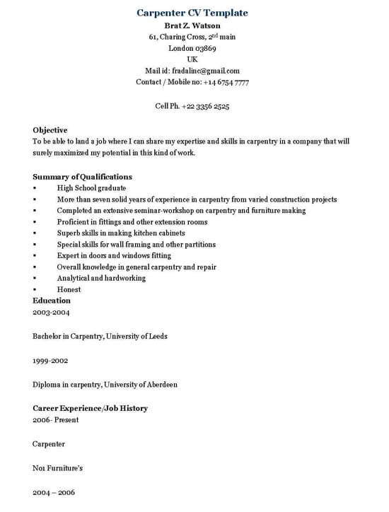 Resume For Carpenter 35 Samplescsat - carpenter invoice template