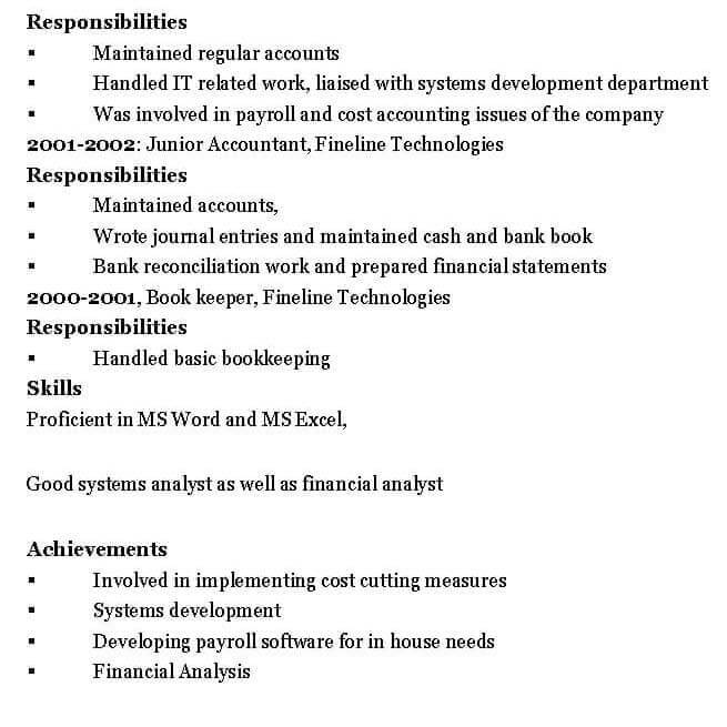 Chartered Accountant Resume Format - accountant resume format