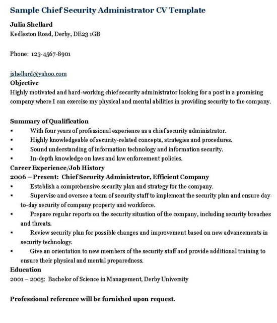 Chief Security Administrator Resume Template