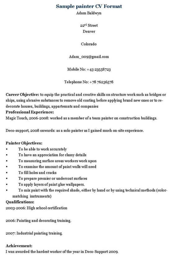 Painter Resume Sample - Painter Resume