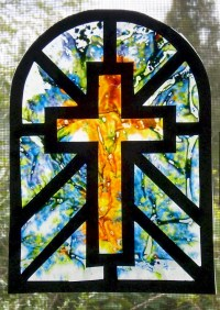 Melted Crayon Stained Glass Window Cross Suncatcher