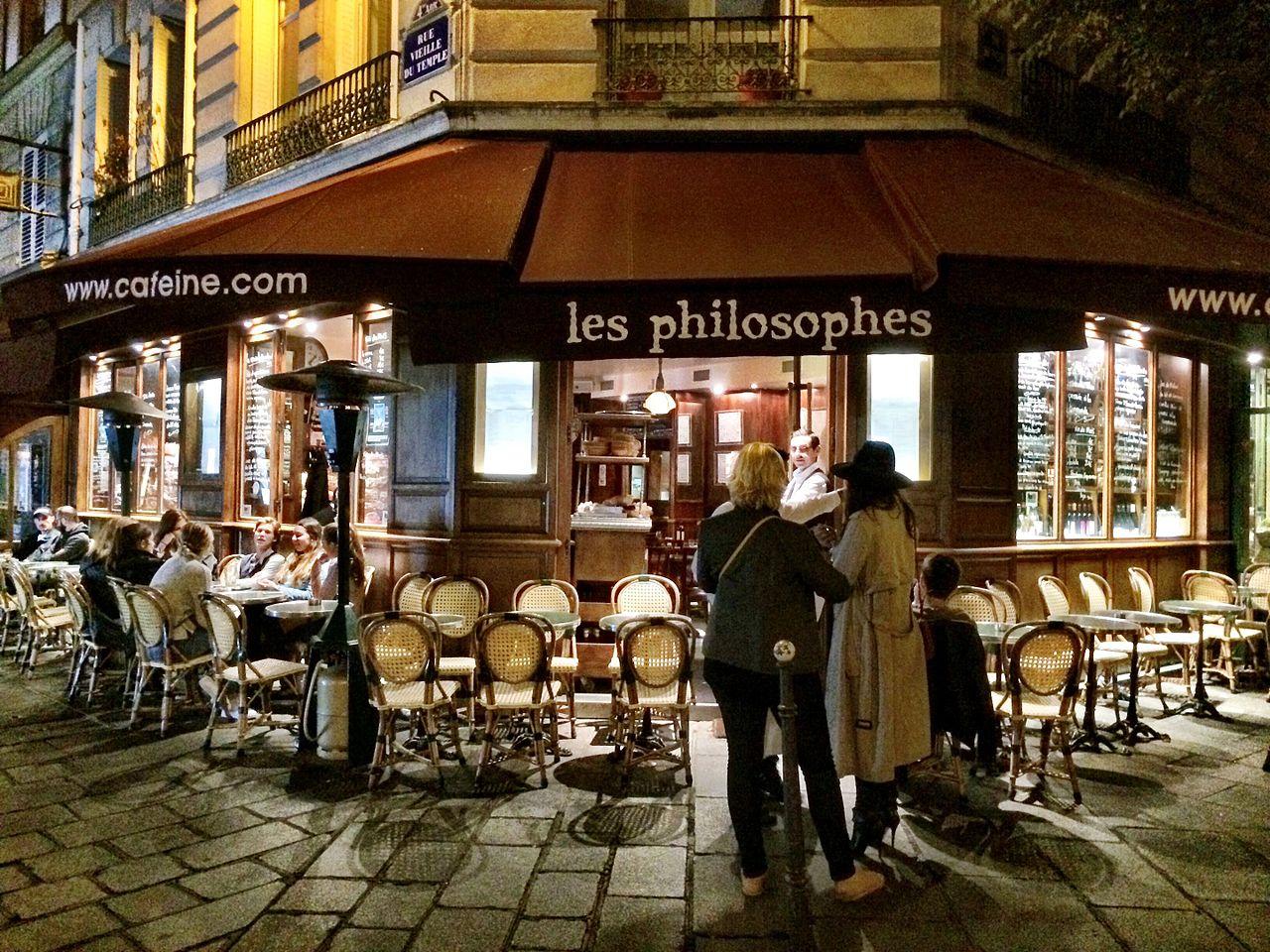 Les Philosophes Restaurant, Rue Vieille du Temple, Paris, photo Guy Courtois