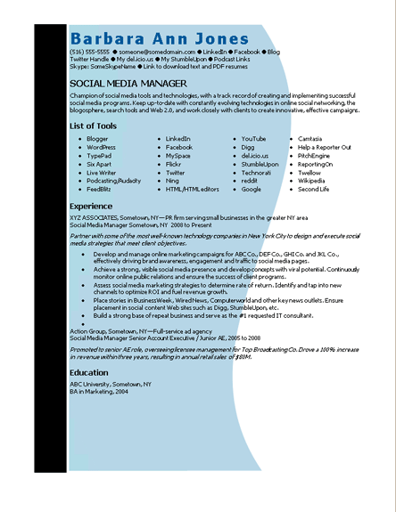 microsoft word social media manager resume template