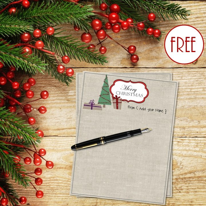 free christmas stationery template templates word note paper