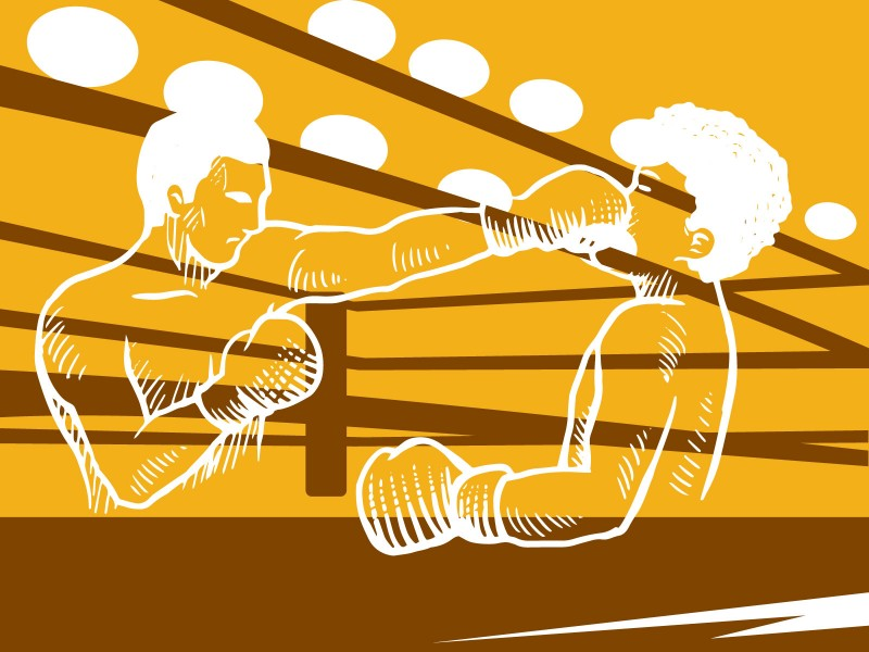 Boxing Presentation Sports Powerpoint Templates - Orange, Silver - sports background for powerpoint