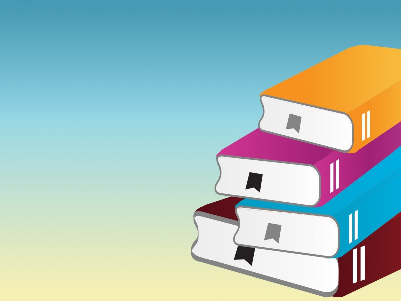 Pile of Books with One Book Powerpoint Templates - Blue, Education