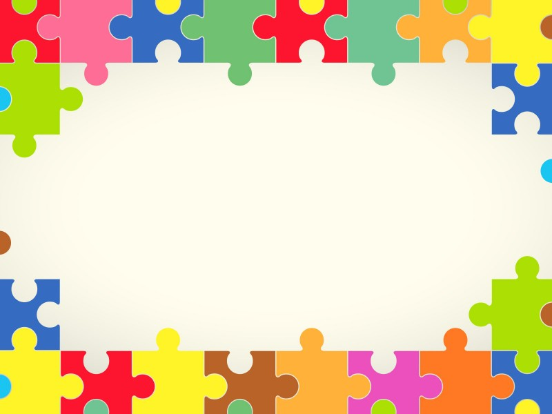 Colourful Puzzles Powerpoint Templates - Border  Frames, Objects