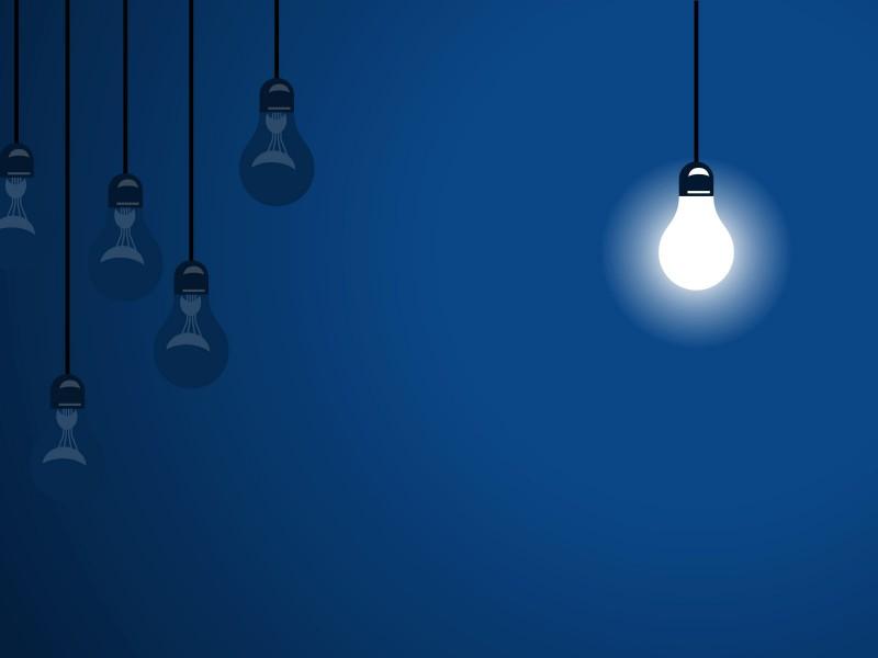 Blue Bulbs Design Powerpoint Templates - Arts, Black, Blue - Free