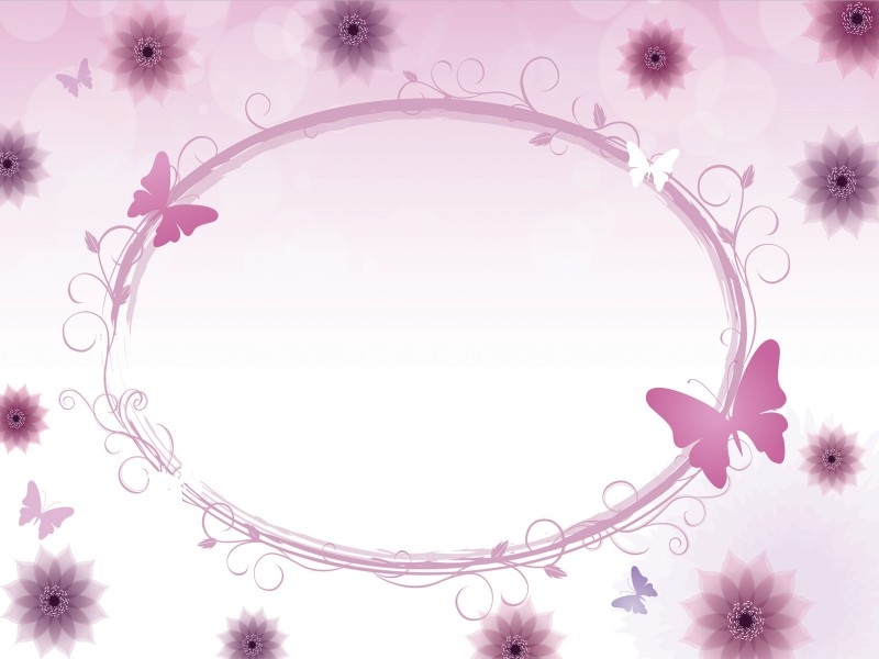Floral Circle with Butterflies Powerpoint Templates - Beauty