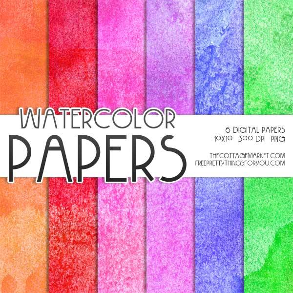 Free Watercolor Digital Scrapbooking Paper Part 2 - Free Pretty