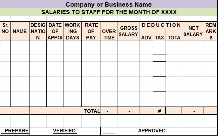 payment sheet in excel format