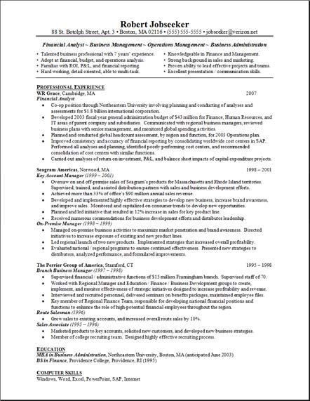 business analyst resume sample senior financial analyst resume ...