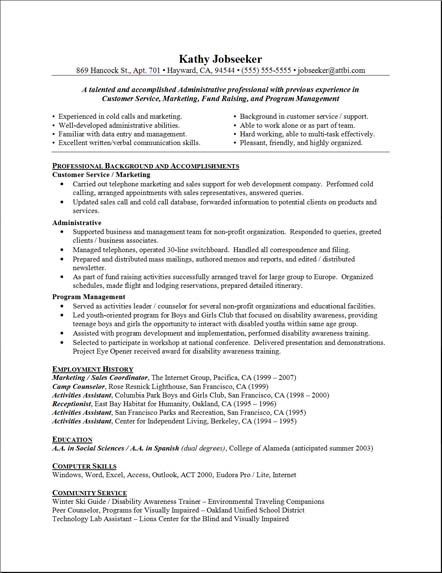 sample resume cover letters administrative assistant