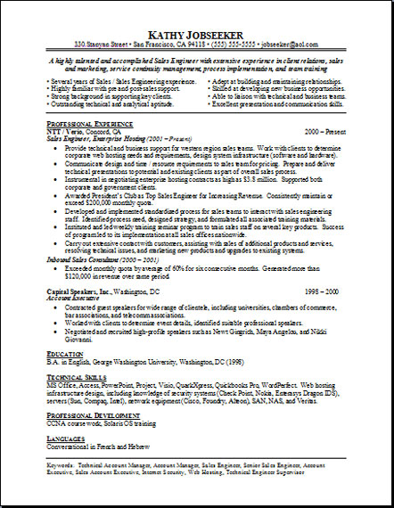 free sample sales resume