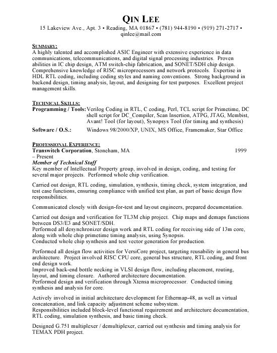 ASIC Engineer - Free Resumes  Free Resumes