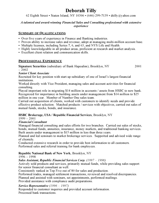 Financial Consultant Resume Example Free Resumes
