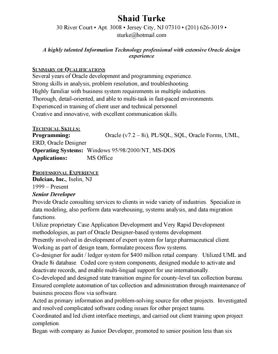 Oracle Developer Resume Sample | Resume Cover Letter For Nurse ...