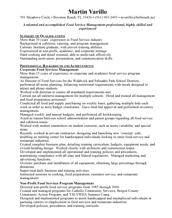 Customer Service Resume Writing Tips And Examples Food Services Manager Free Resumes