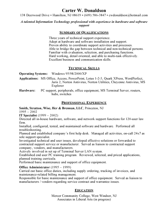 resume for it support support support technical support