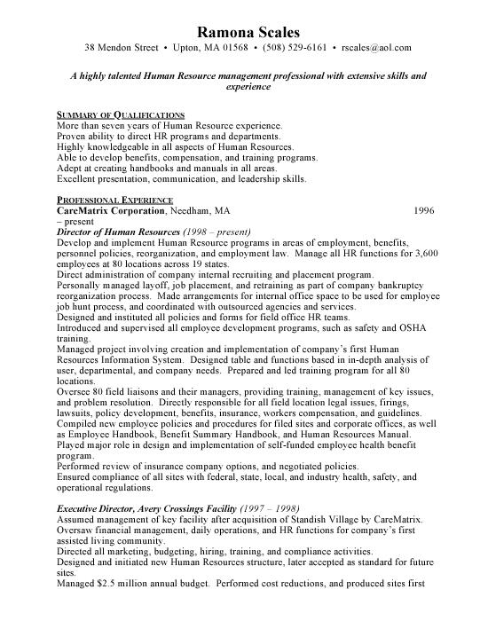 Human Resources Director - Free Resumes  Free Resumes