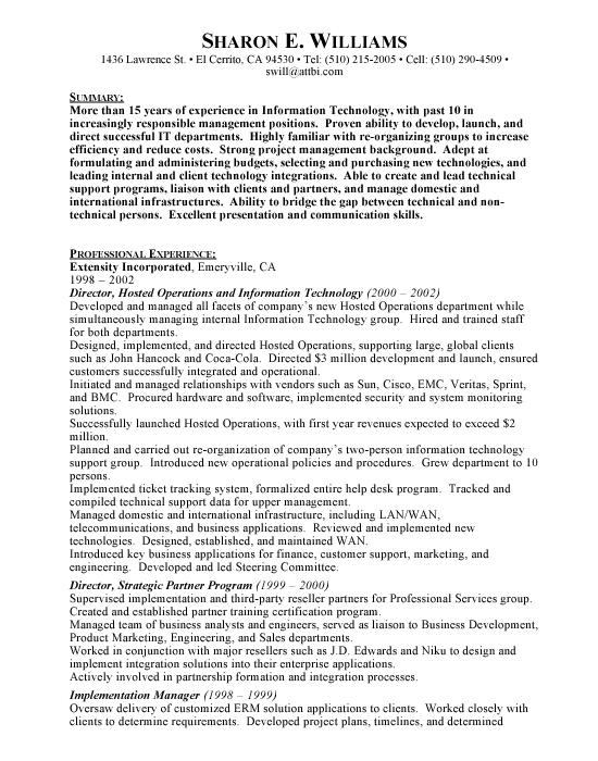 Information Technology - Free Resumes  Free Resumes