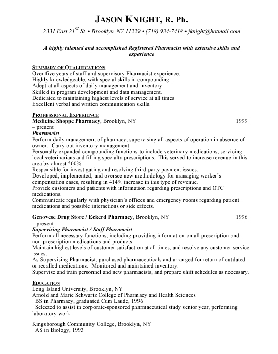 pharmacist cv sample