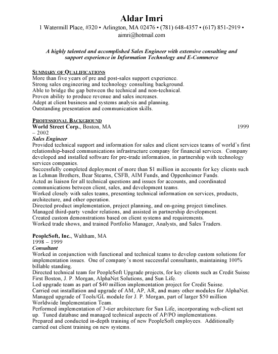 Sales Engineer Resume - Free Resumes  Free Resumes