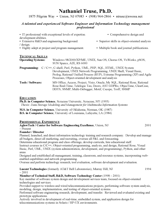 Senior Software Engineer - Free Resumes  Free Resumes