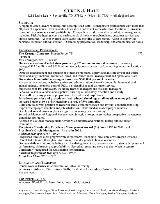 Grocery Store Manager - Free Resumes  Free Resumes