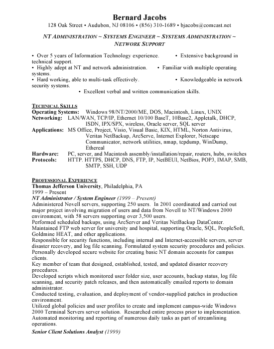 Windows Administrator Resume - Free Resumes  Free Resumes