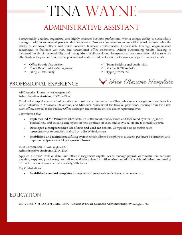 Administrative assistant resume template ⋆ Resume Templates - Administrative Professional Resume