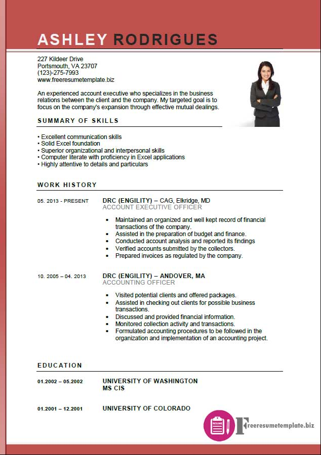 Account Executive Resume Template ⋆ Free Resume