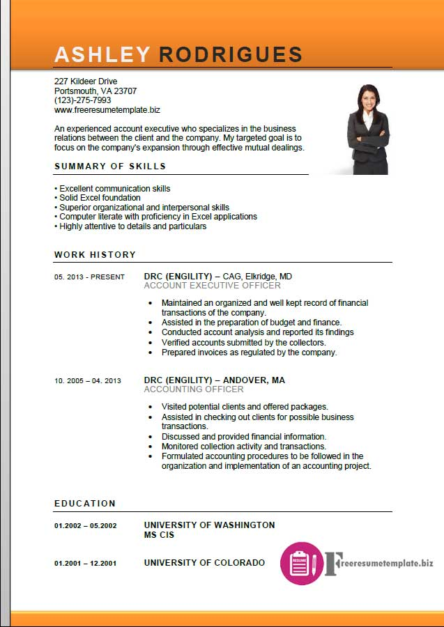 Account Executive Resume Template ⋆ Free Resume - resume format for accounts executive