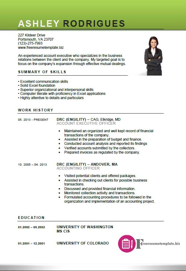 resume format for accounts executive - zrom