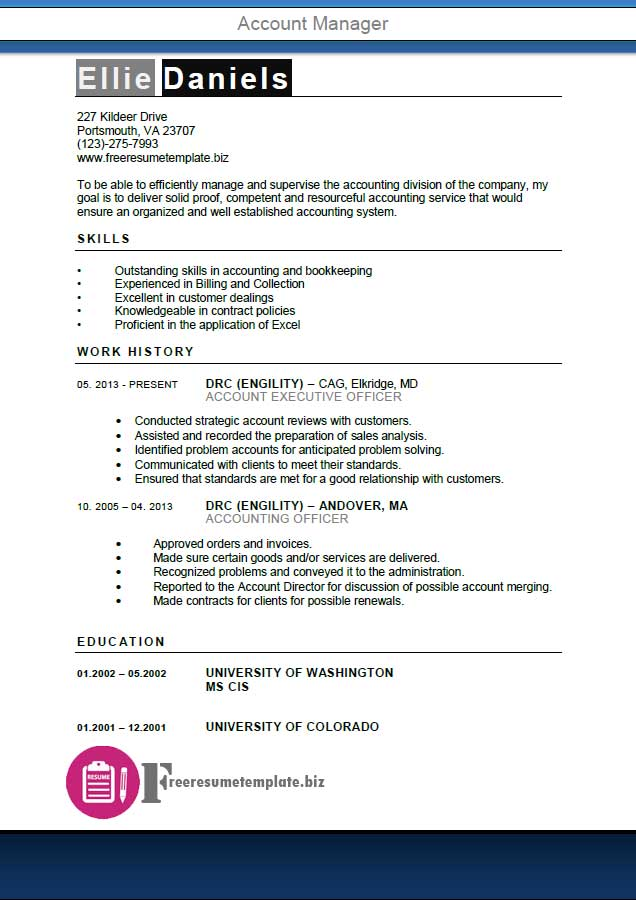 Account Manager Resume Template ⋆ Get the job! - account director resume